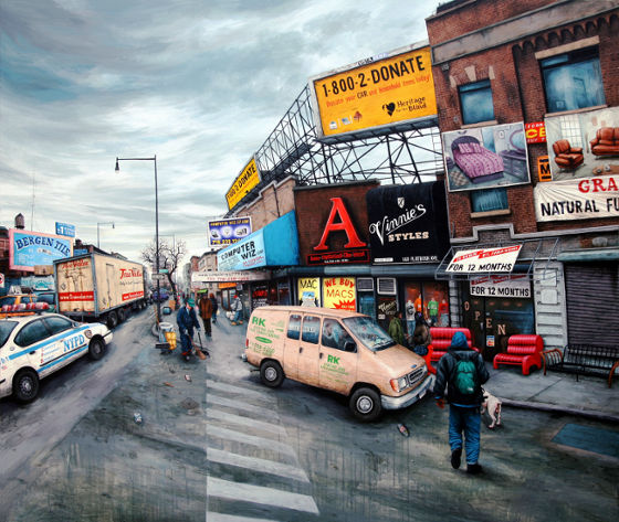 Julien Beneyton NYC, Brooklyn, Flatbush av. & Pacific Ac., 2008 <p>Acrylique sur bois 160 x 185 cm courtesy Galerie Olivier Robert, Paris.</p>